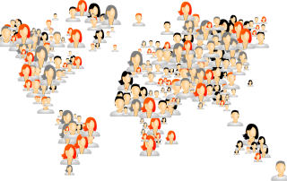 People avatars world map