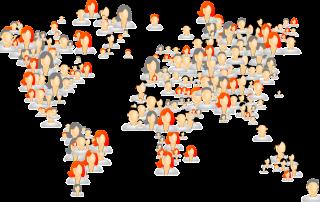 People avatars world map